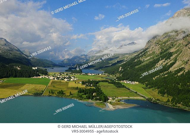 The mountain glacier lakes of the Upper Engadin at Silvaplana and Sils