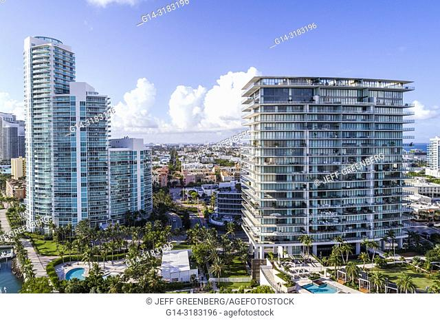 Florida, Miami Beach, aerial overhead bird's eye view above, South Pointe, Apogee Condominium, Murano At Portofino, high rise condominium buildings