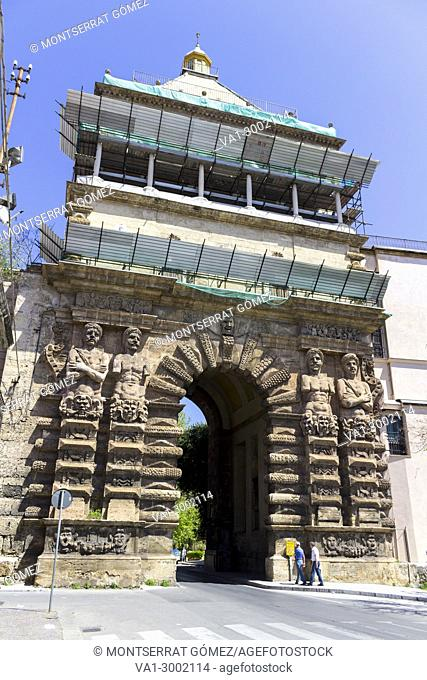 Porta Nuova was one of the main access routes to the city. Palermo, Sicily. Italy