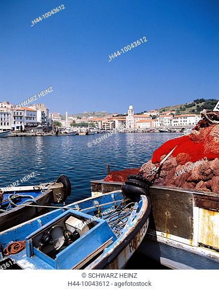 10043612, France, Europe, Languedoc Roussillon, port Vendres, harbour, port, fishing boats, Pyrenées of East ale