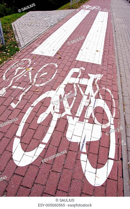 Cycle path mark. Special traffic lane for bicycles