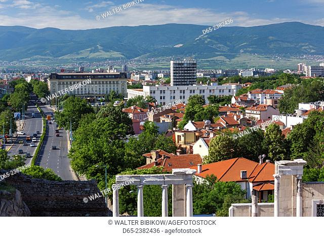 Bulgaria, Southern Mountains, Plovdiv, Old Plovdiv, Roman Amphitheater and elevated view along Tsar Boris Boulevard