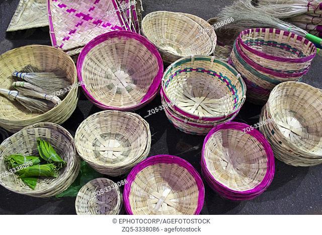 Handmade bamboo baskets for sale on a street shop