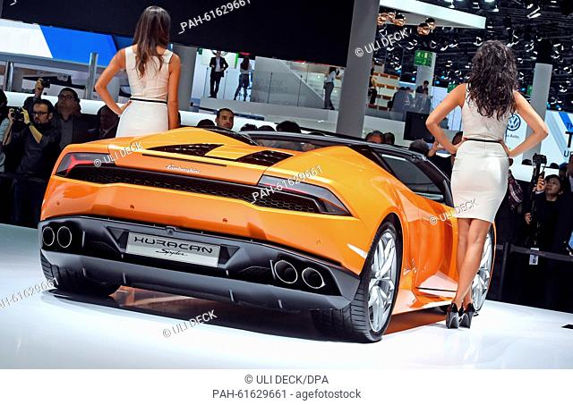The new Lamborghini Huracan LP 610-4 Spyder is presented at the International Motor Show IAA in Frankfurt/Main, 15 September 2015