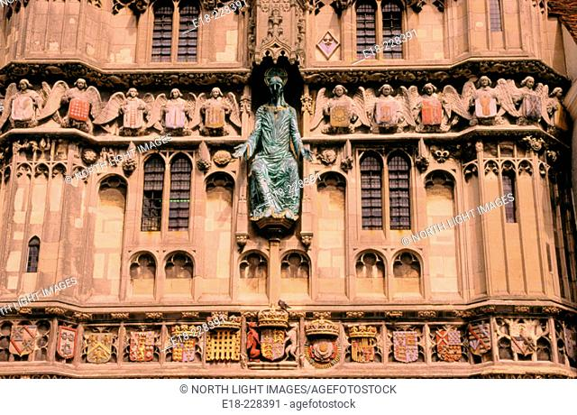 Detail of the entrance gate to Canterbury Cathedral. Kent . UK