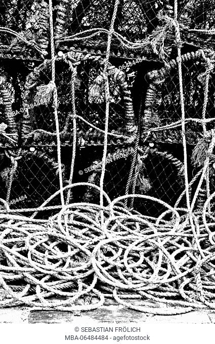 stacked up fish traps for crabs
