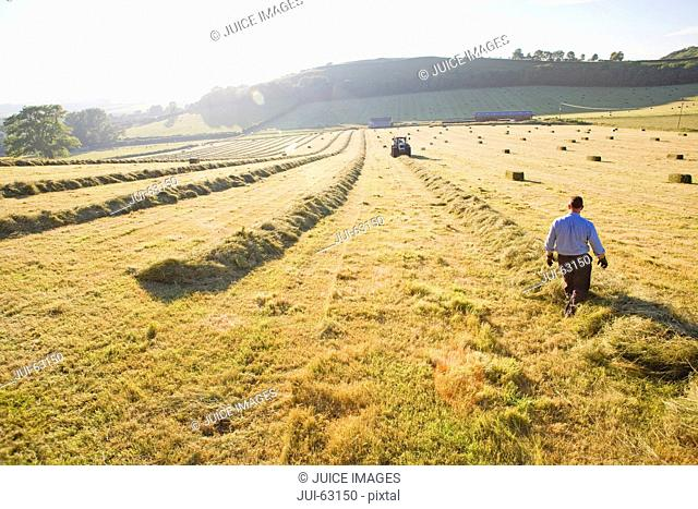 Tractor and farmer baling hay in field