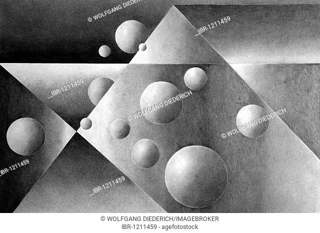 Pencil drawing, geometrical forms, by the artist Gerhard Kraus, Kriftel, Germany