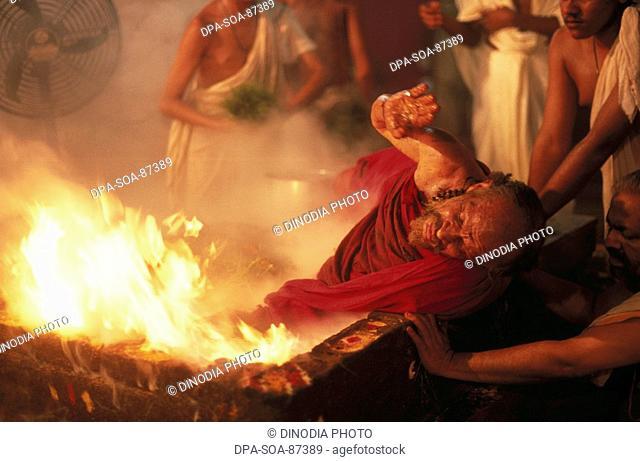 Fire bath of Indian sadhu