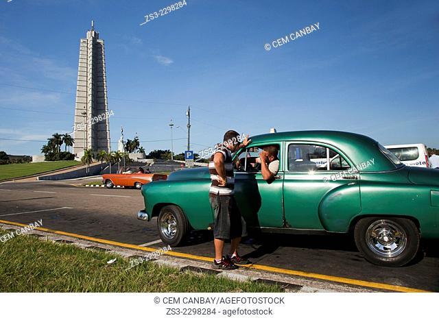 Vintage american cars in front of the Jose Marti Monument, Plaza de la Revolucion, Vedado, Havana, Cuba, Central America