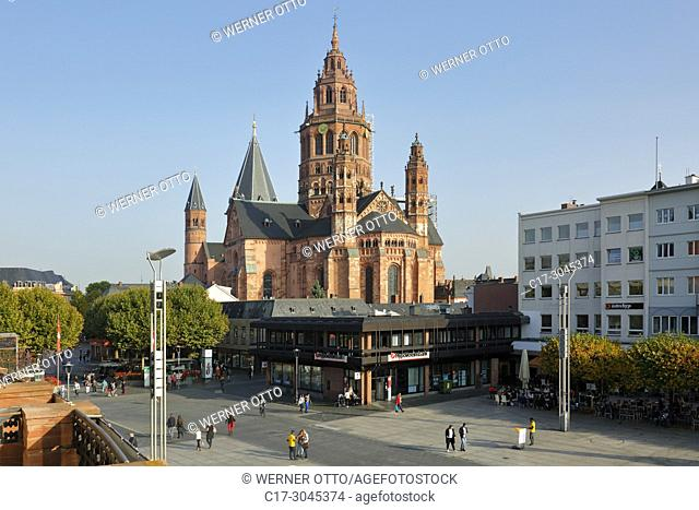 Mainz, D-Mainz, Rhine, Rhine-Main district, Rhineland, Rhineland-Palatinate, Mainz Cathedral and Gutenberg Square, St. Martins Cathedral, imperial cathedral