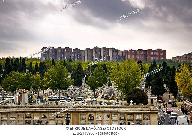 View from a hill of the Almudena cemetery, Madrid, Spain