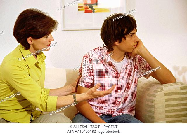 Mother quarrelling with her son