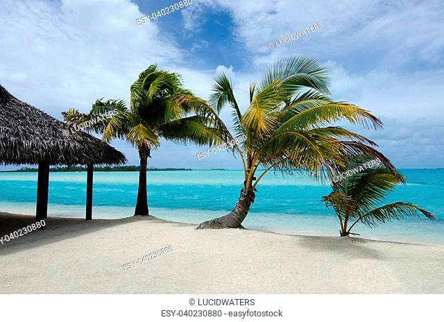 Beach bungalow on Aitutaki Lagoon Cook Islands