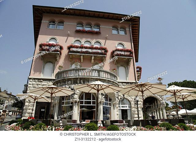 The pink Amadria Park Hotel Milenji in Opatija on the Adriatic Croatian Riviera