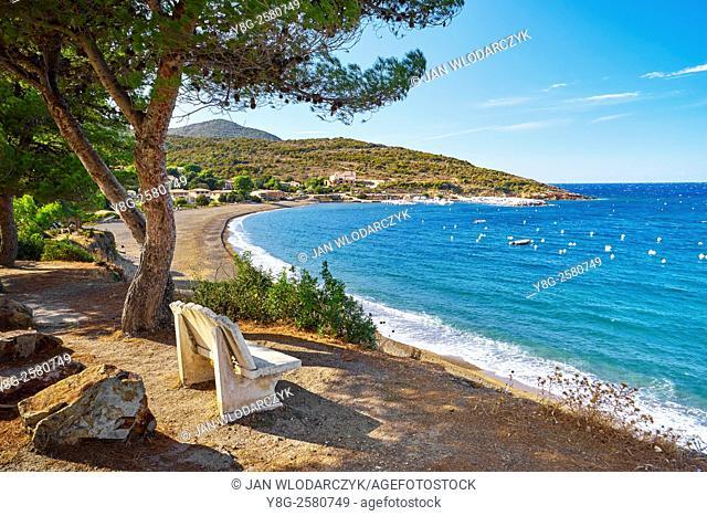 Golfe de Galeria, view to small fishing village Galeria, Corsica Island, France
