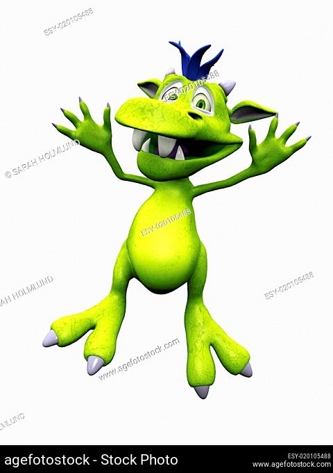 Cute cartoon monster jumping for joy