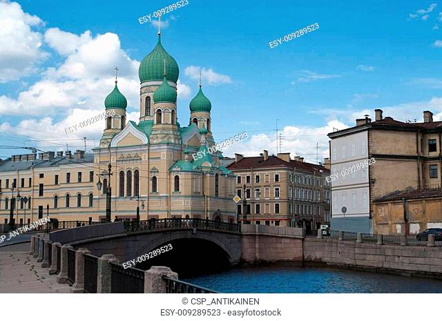 Sightseeing of Saint-Petersburg city, Russia. With churches, rivers and canals
