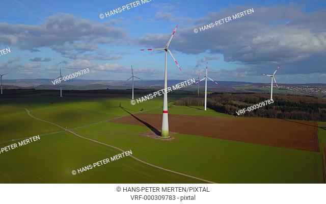 Wind turbines at wind park, Saargau near Kirf, Rhineland-Palatinate, Germany