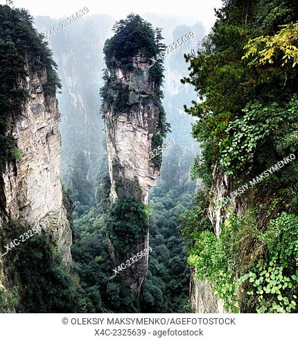 Mountain spire at Zhangjiajie National Forest Park, Zhangjiajie, Hunan, China