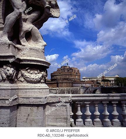 Castello di Angelo and bridge Ponte Vittoria Emanuele II Rome Lazio Italy Castell Sant' Angelo