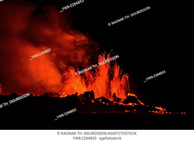 Lava fountains at night, eruption at the Holuhraun Fissure, near the Bardarbunga Volcano, Iceland