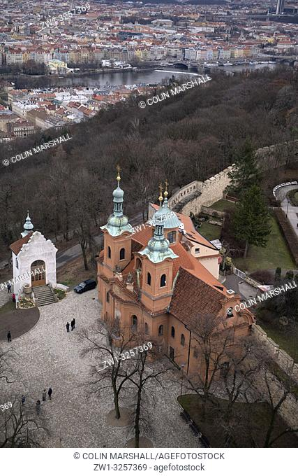 St Lawrence Church with Vltava River in background, Petrin Observation Tower, Petrin Hill, Prague, Czech Republic