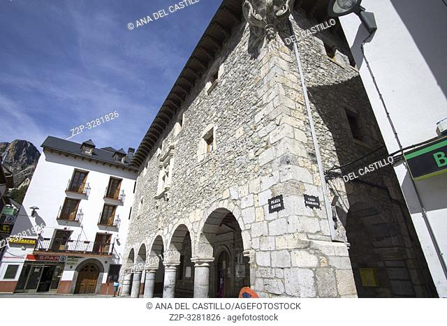 BIELSA HUESCA ARAGON SPAIN ON MARCH 16, 2019: Cityscape in the historic town. The city hall building