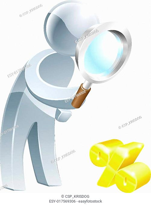 Percent sign magnifying glass person