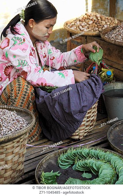 Myanmar, Burma, Chauk village, market