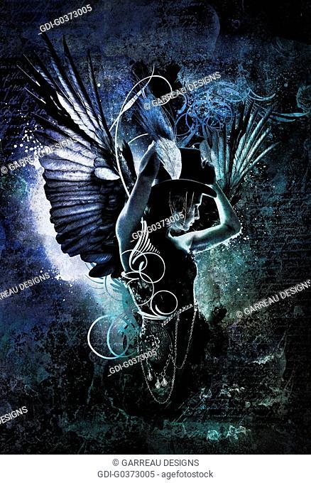 Burlesque angel design over black background