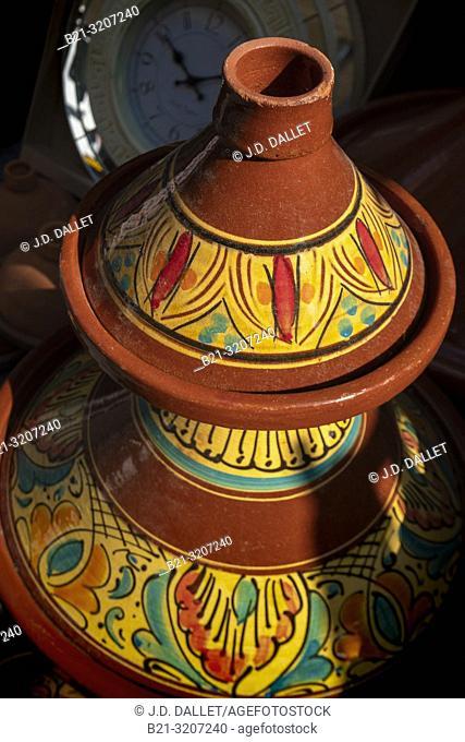 "Morocco, Handicraft, typical """"Tagine"""" ceramic plates"