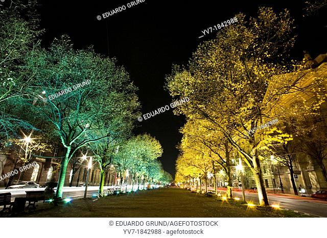 Unter den Linden, illuminated during the Festival of Lights, scene from the movie set of 'Run Lola Lola'  Berlin, Germany, Europe