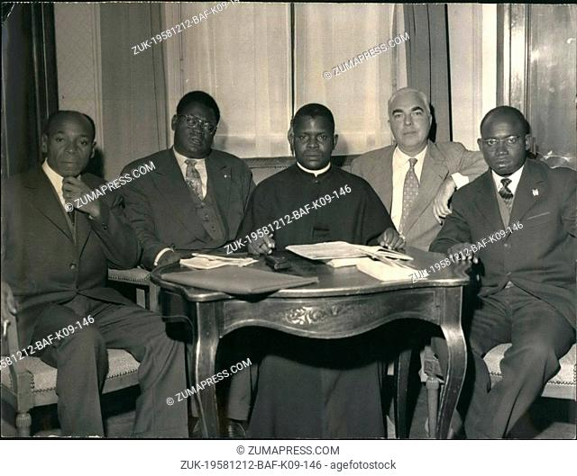 Dec. 12, 1958 - Abbe fulbert Youlou, Congo prime minister, in Paris : Abbe Fulbert Youlou, prime minister of Congo, arrived yn Paris yesterday