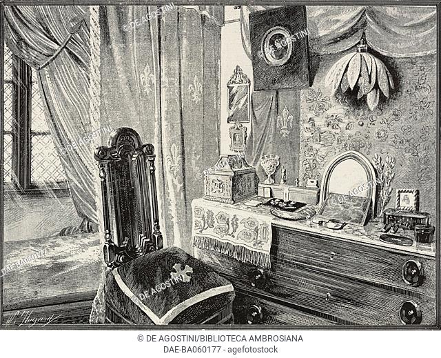 The cabin of Pierre Loti (1850-1923), French writer, on the Formidable, armed ship of the French Navy, illustration after a photo by Albert, from L'Illustration