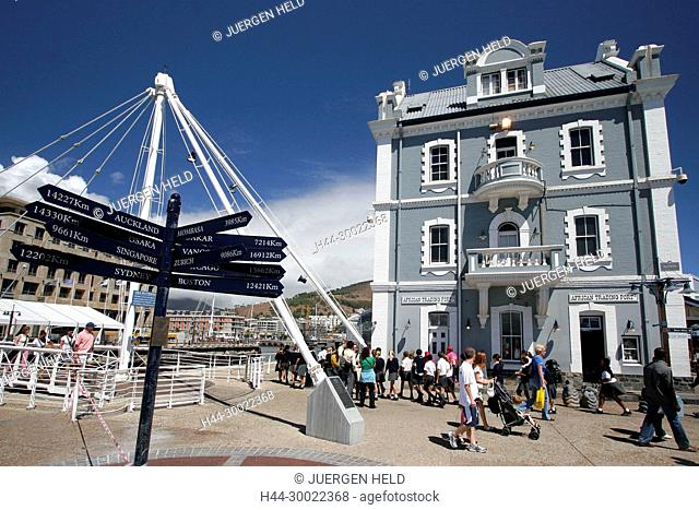 south africa cape town,Victoria Albert waterfront, swing bridge, harbour office building, destination panel, sign post