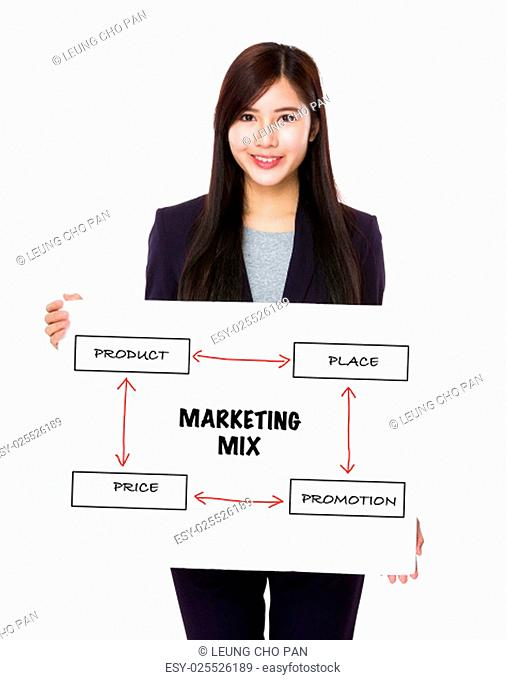Businesswoman holding a banner presenting business mix concept