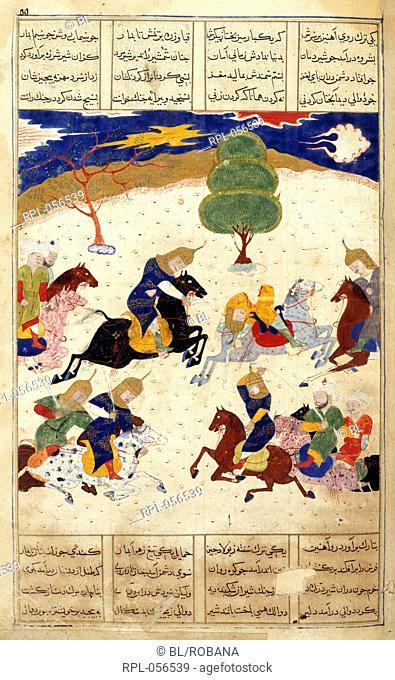 Iskandar's army defeats the Russians. A miniature painting from a sixteenth century manuscript of the Sharafnama the first part of Nizami's Iskandarnama a poem...