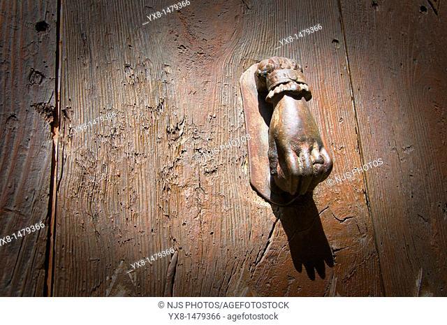 Typical door knocker, Sos del Rey Catolico, Cinco Villas, Zaragoza province, Aragon, Spain