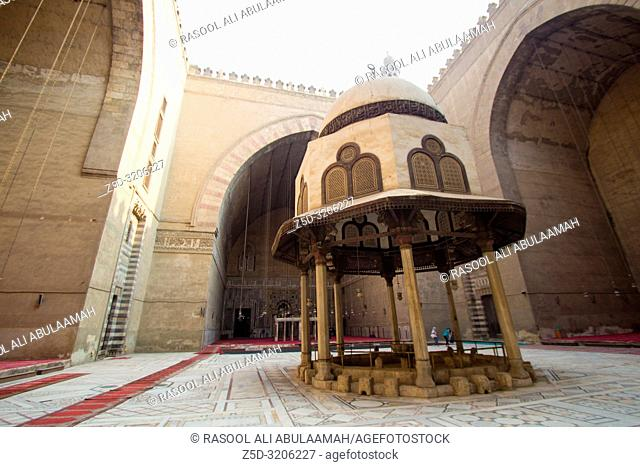 Cairo, Egypt – November 7, 2018 : photo from inside for Mosque of Sultan Hassan in Cairo city capital of Egypt, and showing A mosque built in the style of the...