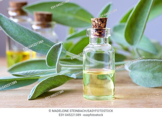 A bottle of essential oil with fresh sage twigs