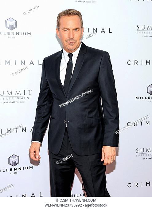 """""""""""""""Criminal"""""""" New York Premiere at AMC Lincoln Square Featuring: Kevin Costner Where: New York, New York, United States When: 11 Apr 2016 Credit: C"""