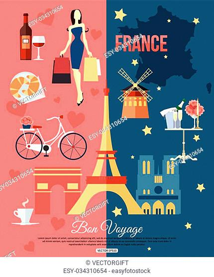 France travel background with place for text. Set of colorful flat icons, France symbols for your design. Vector illustration