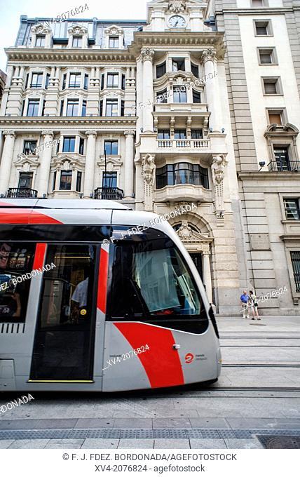 Coso street and tram detail, Saragossa, Aragón, Spain