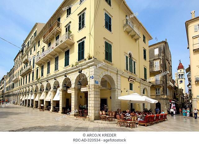 Street Cafes in Corfu-Town, Kerkyra, Corfu, Ionian Islands, Greece