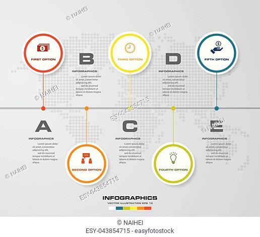5 steps presentation template. 5 steps timeline presentation template. EPS10