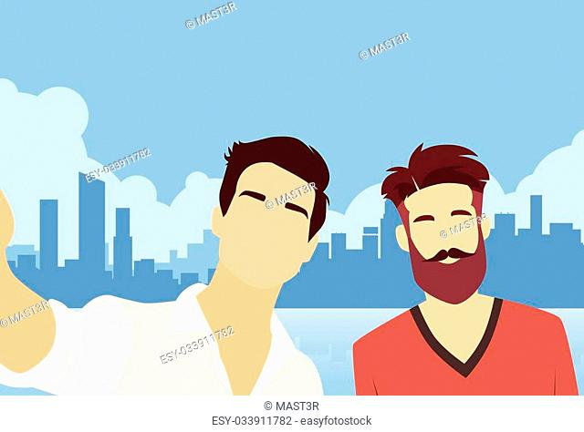 Two Man Taking Selfie Photo VIdeo Blog Modern City View Flat Vector Illustration