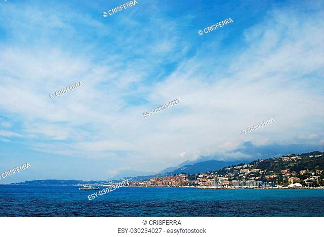 Menton town and coast, french riviera landscape, Provence, France