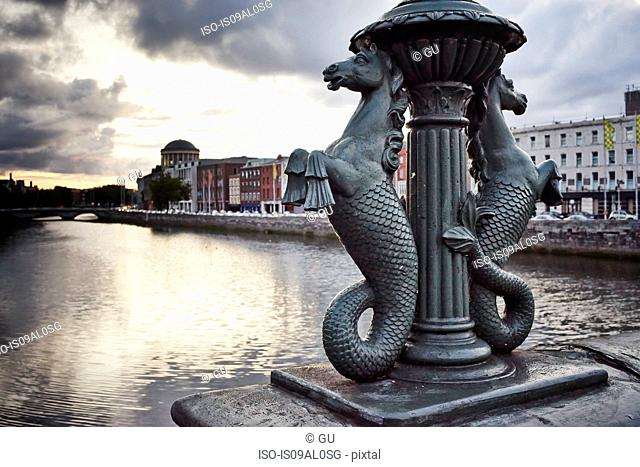 Detail of seahorses on Grattan bridge, Dublin, Republic of Ireland