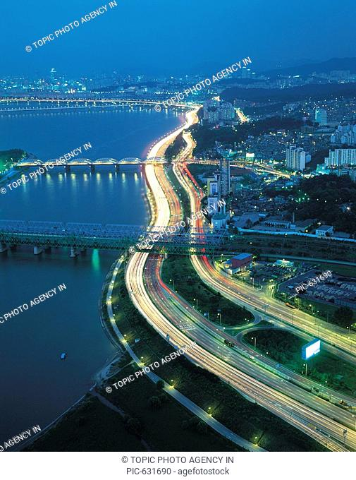 Olympic Expressway,Hangangdaegyo Bridge,Han River,Seoul,Korea